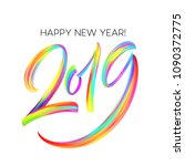 2019 new year of a colorful... | Shutterstock .eps vector #1090372775