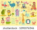 beach animals hand drawn style  ... | Shutterstock .eps vector #1090376546