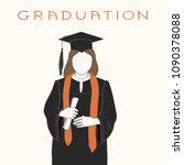 faceless girl in graduation...   Shutterstock .eps vector #1090378088