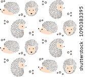 cute hedgehog pattern  ... | Shutterstock .eps vector #1090383395
