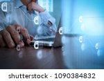 blockchain technology concept... | Shutterstock . vector #1090384832
