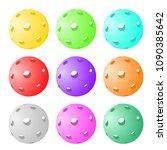 set of nine pickleball balls | Shutterstock .eps vector #1090385642