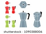 coffee pot without outline and... | Shutterstock .eps vector #1090388006