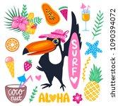 vector summer set wit toucan... | Shutterstock .eps vector #1090394072
