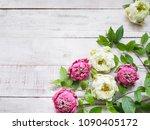 floral springtime background.... | Shutterstock . vector #1090405172