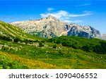 mountain peak range landscape.... | Shutterstock . vector #1090406552