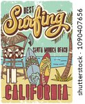 surfing theme poster or t shirt ... | Shutterstock .eps vector #1090407656