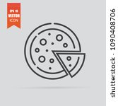 pizza icon in flat style... | Shutterstock .eps vector #1090408706