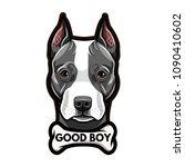 staffordshire terrier portrait. ... | Shutterstock .eps vector #1090410602