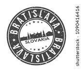 bratislava slovakia round stamp ... | Shutterstock .eps vector #1090416416