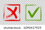 cross and tick signs  check... | Shutterstock .eps vector #1090417925