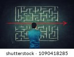 rear view of a puzzled... | Shutterstock . vector #1090418285