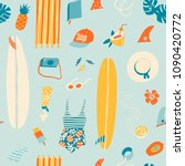 summer beach objects seamless... | Shutterstock .eps vector #1090420772
