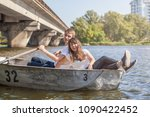 happy young teenage couple  guy ... | Shutterstock . vector #1090422452