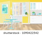 interior design of yellow... | Shutterstock .eps vector #1090422542