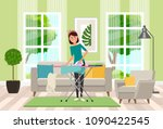 a housewife ironing clothes... | Shutterstock .eps vector #1090422545