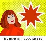 pop art girl looks at the... | Shutterstock .eps vector #1090428668