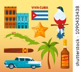 cuba landmarks and cultural... | Shutterstock .eps vector #1090433438