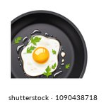 pan with fried egg. cooking... | Shutterstock .eps vector #1090438718