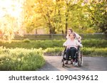 elderly grandmother in... | Shutterstock . vector #1090439612