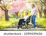 elderly grandmother in...   Shutterstock . vector #1090439636