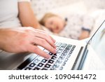 father with laptop and a... | Shutterstock . vector #1090441472