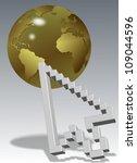 a computer arrow cursor with a golden earth globe / cursor and world - stock photo