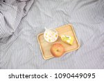 top view of wooden tray with... | Shutterstock . vector #1090449095