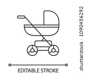 baby carriage linear icon. thin ... | Shutterstock .eps vector #1090456292