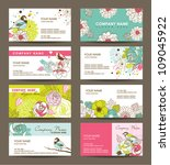 name card templates with floral ...   Shutterstock .eps vector #109045922