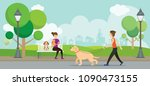man and woman with pets in the... | Shutterstock .eps vector #1090473155