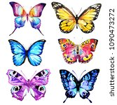 beautiful pink butterfly... | Shutterstock . vector #1090473272
