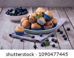 blueberry muffins  healthy... | Shutterstock . vector #1090477445