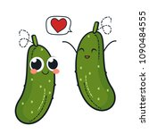 cute cucumber characters.... | Shutterstock .eps vector #1090484555