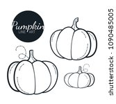 pumpkin linear graphic design.... | Shutterstock .eps vector #1090485005