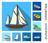 water and sea transport flat...   Shutterstock .eps vector #1090487306