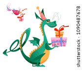 birthday dragon. dragon holding ... | Shutterstock .eps vector #1090487678