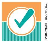valid seal icon. orange circle... | Shutterstock .eps vector #1090490162