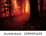 scary forest scene  nightmare... | Shutterstock . vector #1090491635