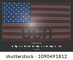 Small photo of American flag on a black background in the ascii style of a pixel font on an old monitor