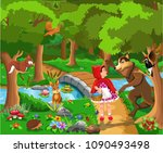 red riding hood classic fairy...   Shutterstock .eps vector #1090493498