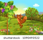 the fox and the grapes classic... | Shutterstock .eps vector #1090493522