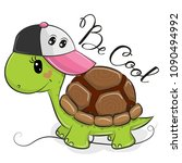 cute cartoon cool turtle with a ... | Shutterstock .eps vector #1090494992