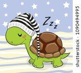 Sleeping Cute Turtle In A Hood...