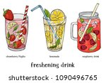 set of three refreshing summer... | Shutterstock .eps vector #1090496765