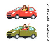 happy man and woman  drive... | Shutterstock . vector #1090518185