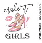 Girl Slogan With High Heel...