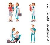 pediatrician doctor exam... | Shutterstock . vector #1090521755