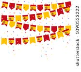 spain celebration bunting flags ... | Shutterstock .eps vector #1090523222