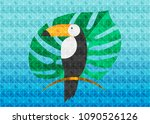 toucan icon with exotic... | Shutterstock .eps vector #1090526126